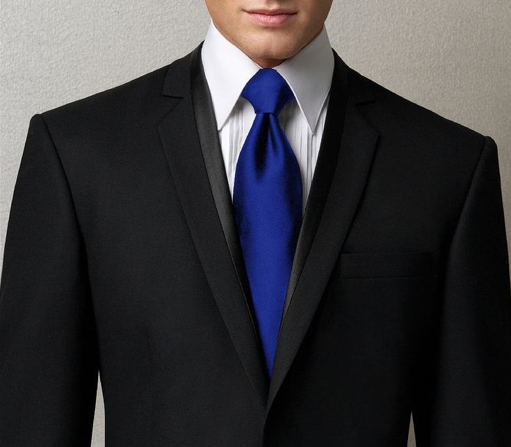 black suit blue tie photo - 1