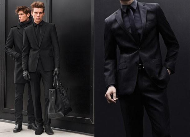 black suit red tie photo - 1