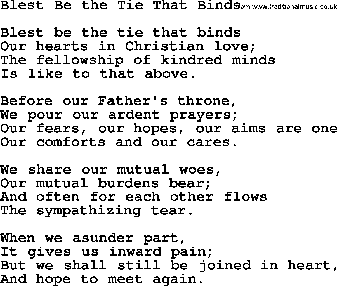 blest be the tie that binds lyrics photo - 1