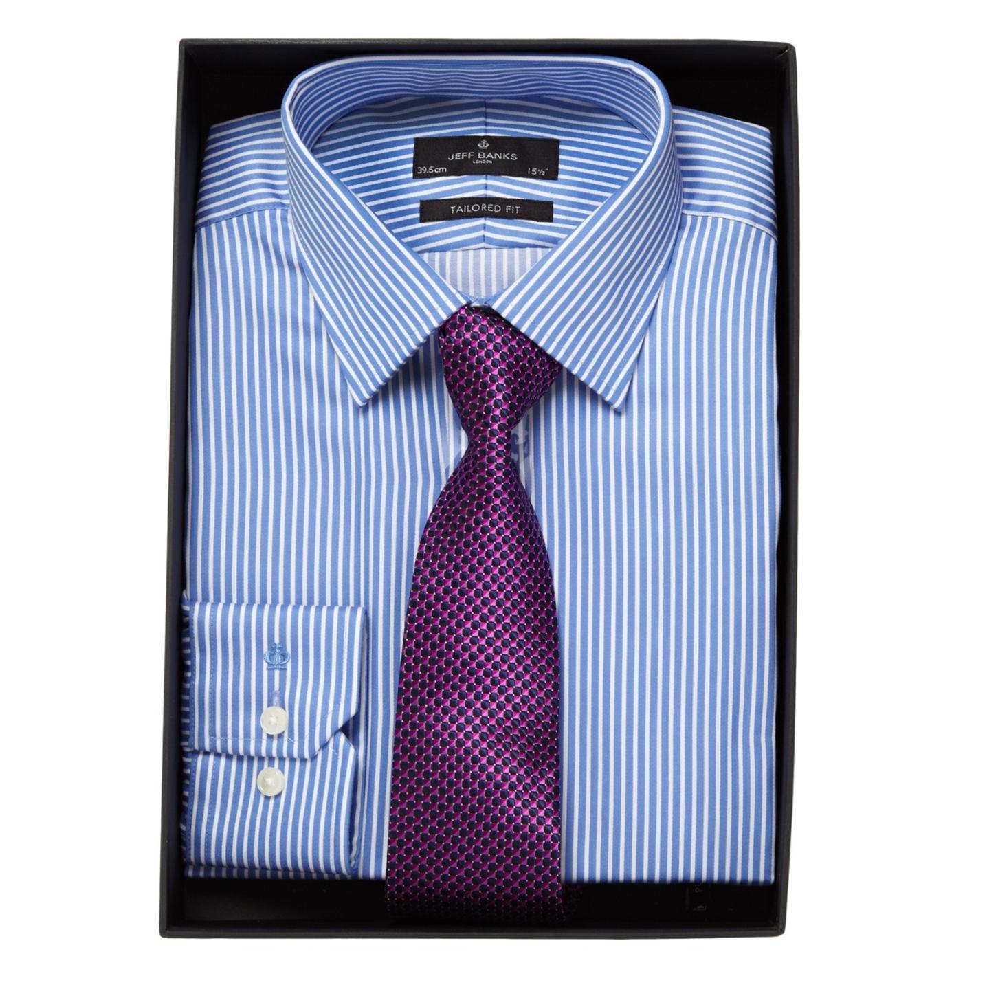 blue shirt purple tie photo - 1