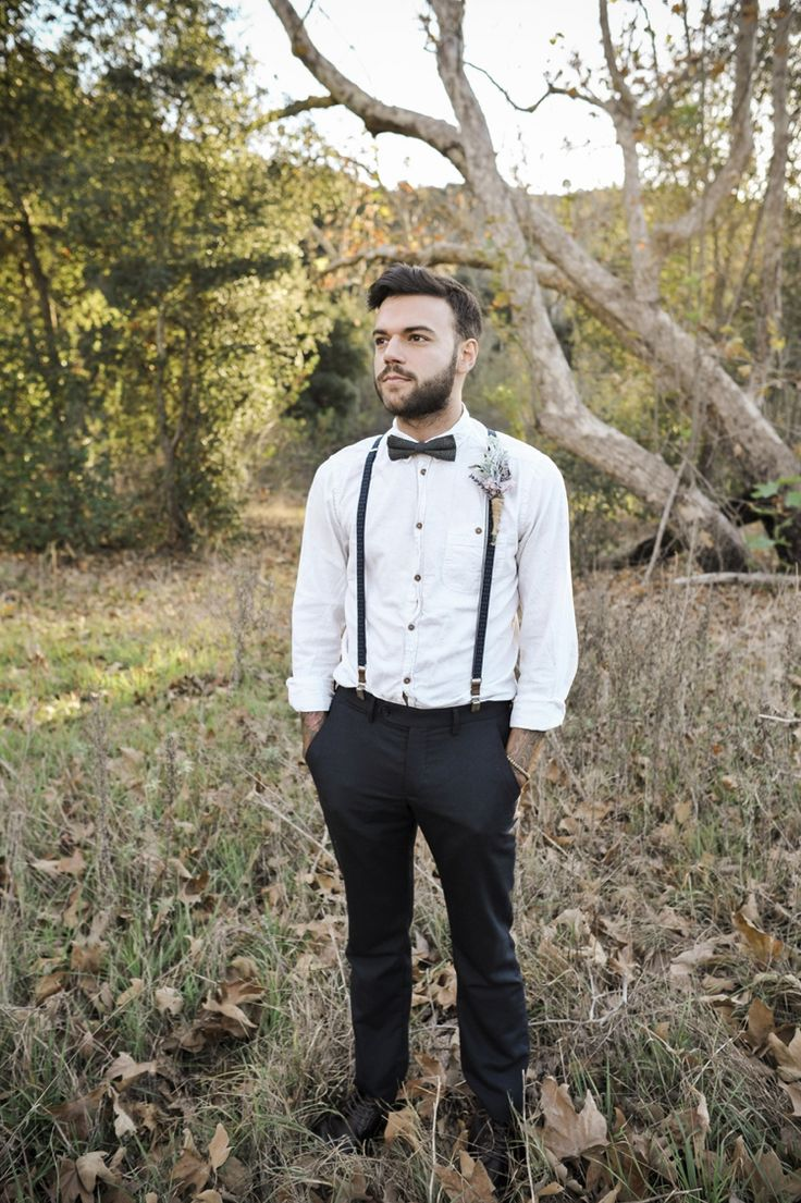 bow tie and suspenders wedding photo - 1