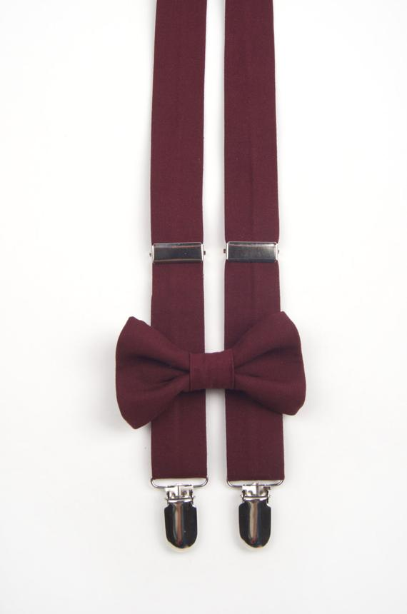burgundy bow tie and suspenders photo - 1