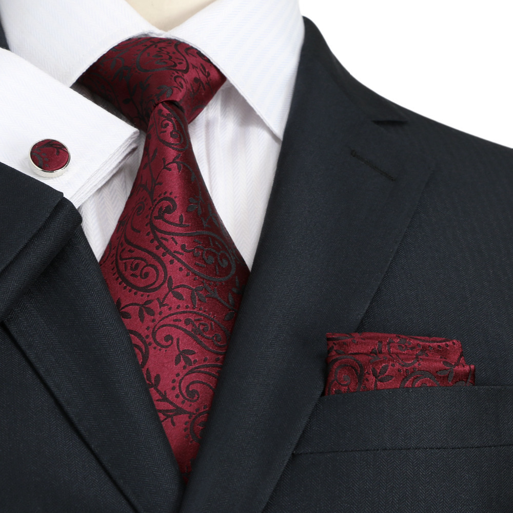 burgundy paisley tie photo - 1