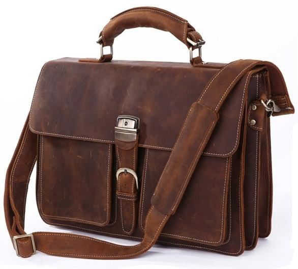 canvas and leather briefcase photo - 1