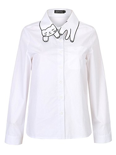 cotton white cat pattern collar pocket detail long sleeve office shirt photo - 1