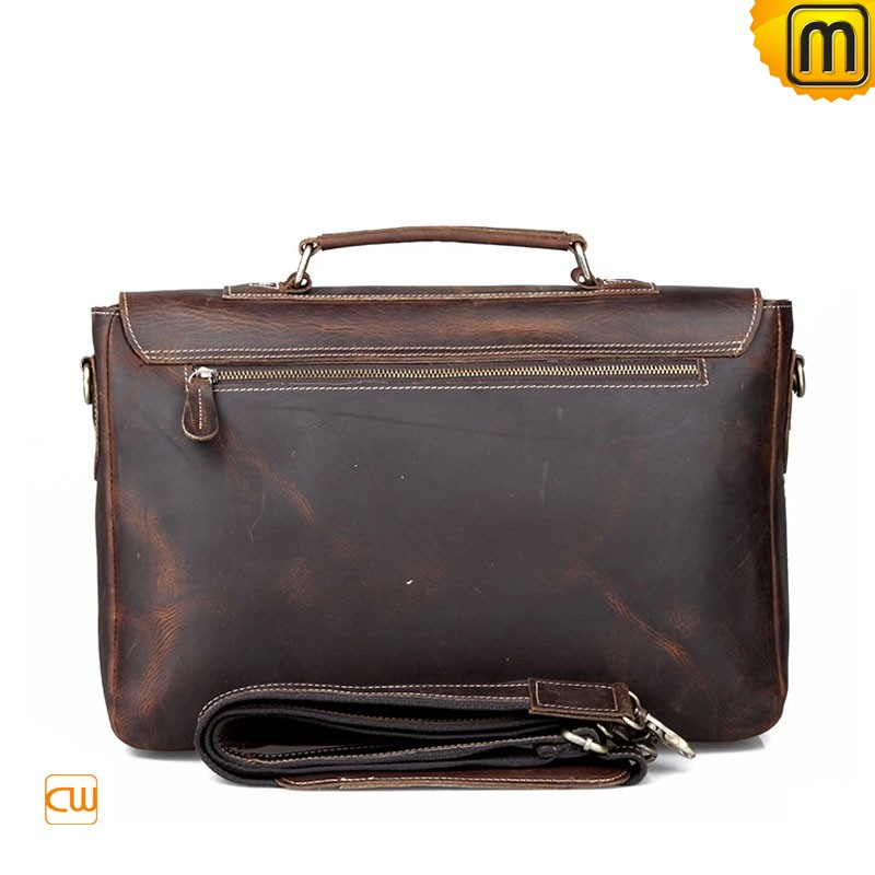distressed leather briefcase photo - 1
