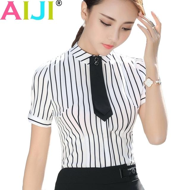 elegant office short sleeve shirt women photo - 1