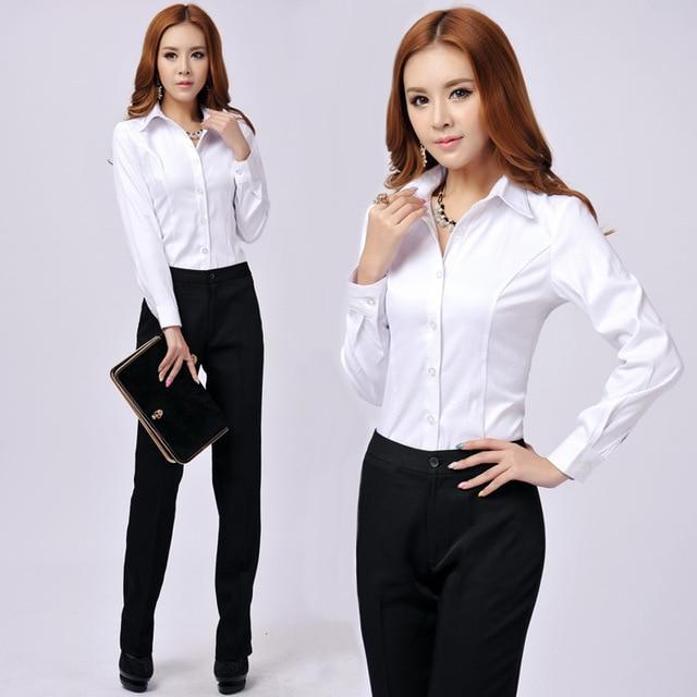 elegant women white long sleeve office business work fashion shirt photo - 1