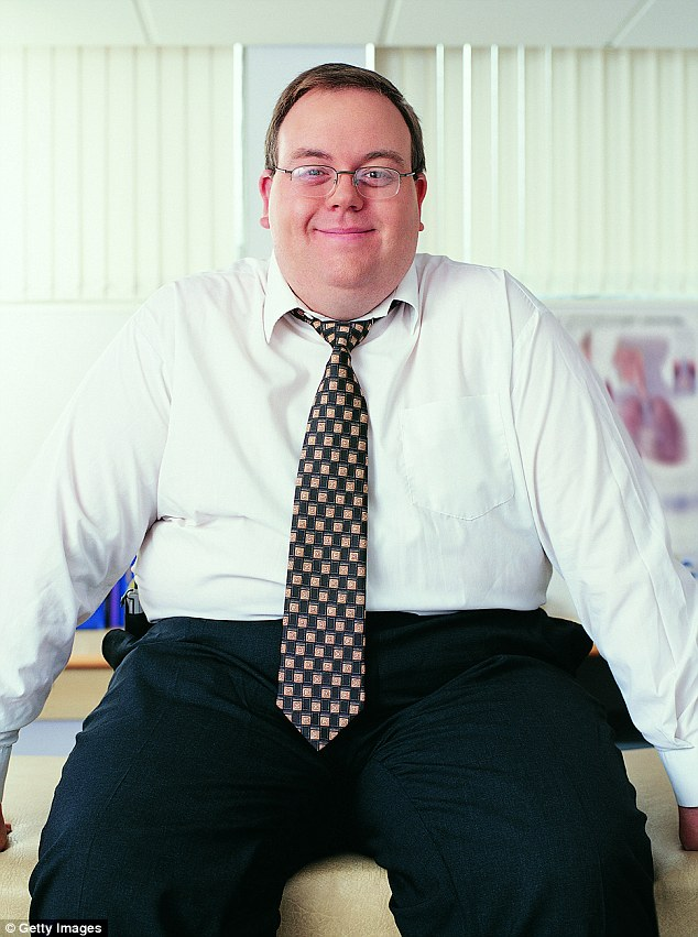 fat guy in office shirt photo - 1