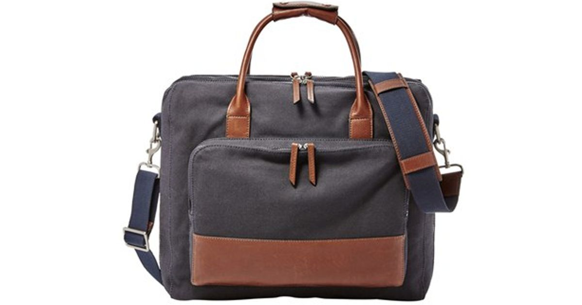 fossil leather briefcase photo - 1