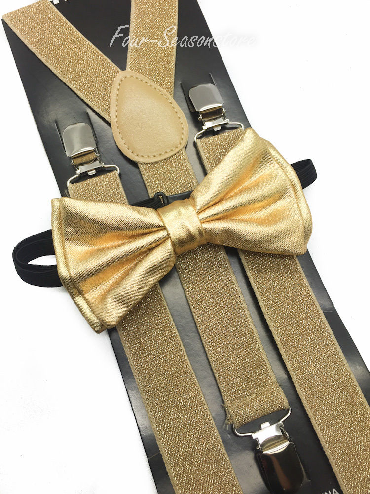 gold bow tie and suspenders photo - 1