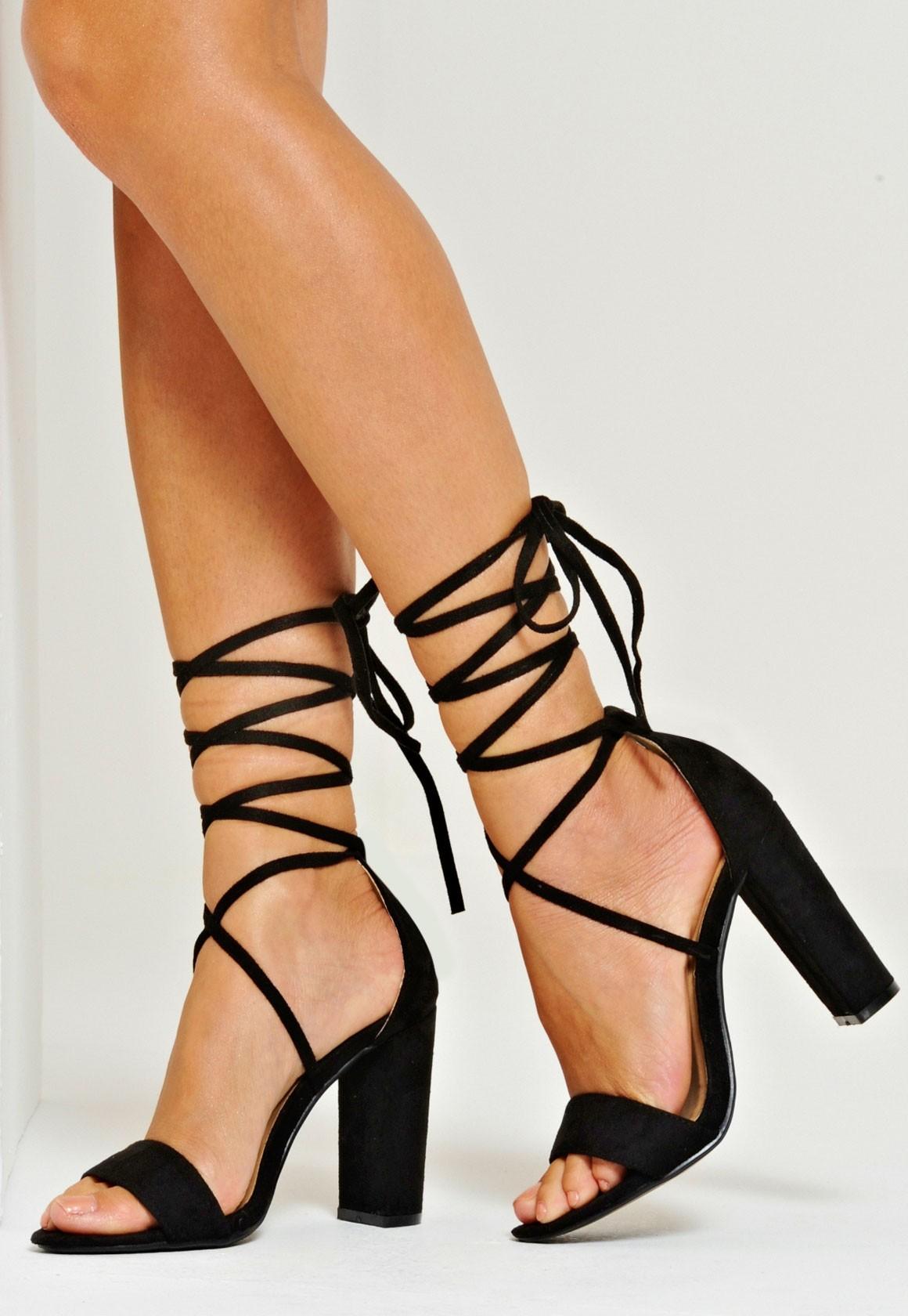 gold tie up heels photo - 1