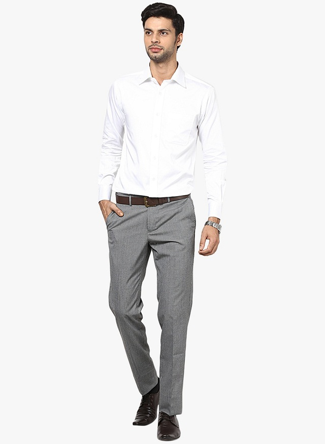 green office shirt grey pant photo - 1