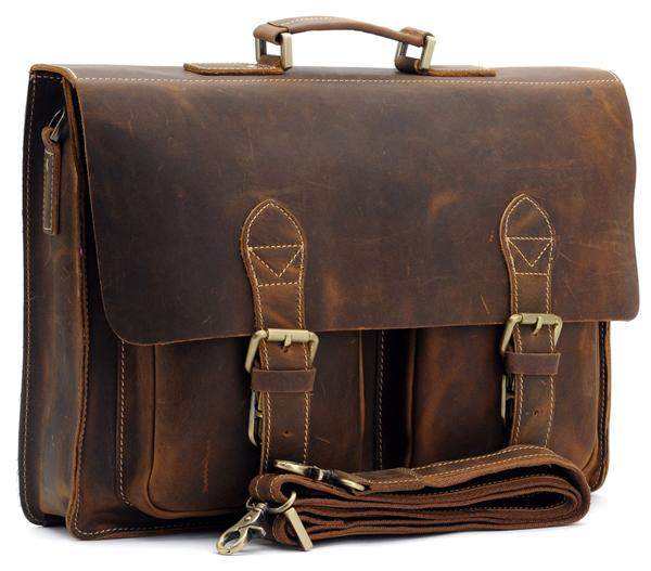handmade leather briefcase photo - 1