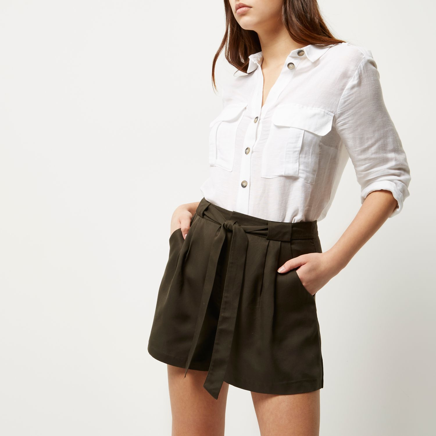 high waisted tie shorts photo - 1