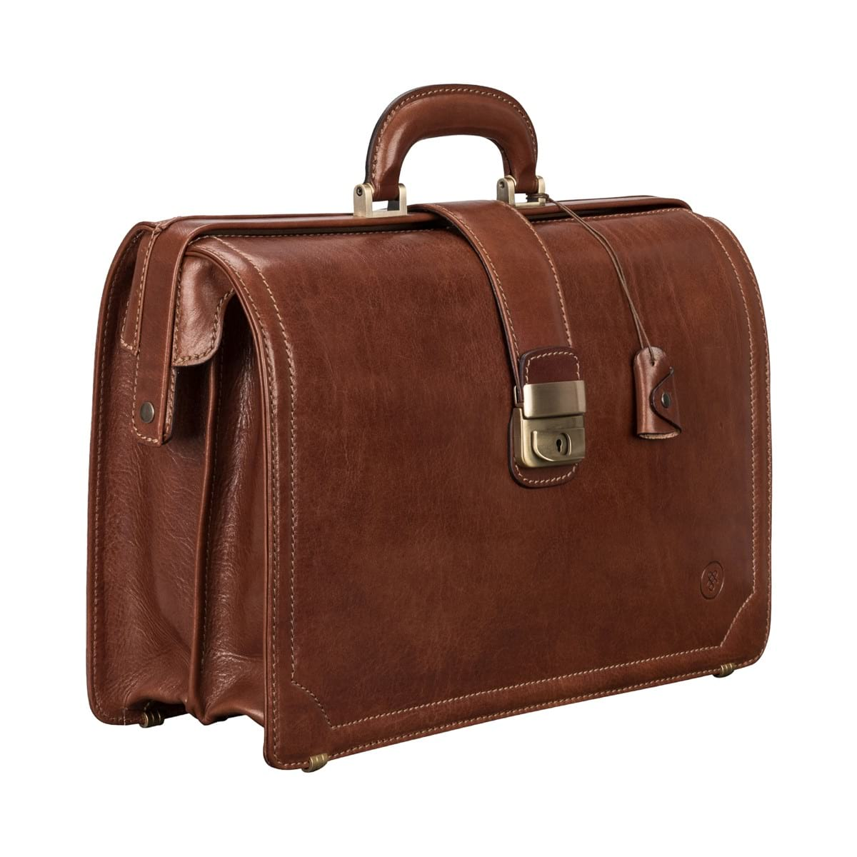 italian leather briefcase photo - 1