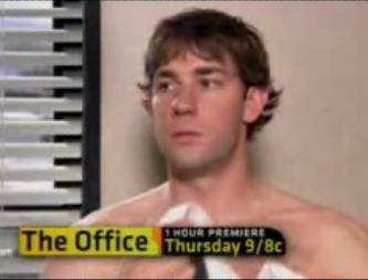 jim no shirt the office photo - 1