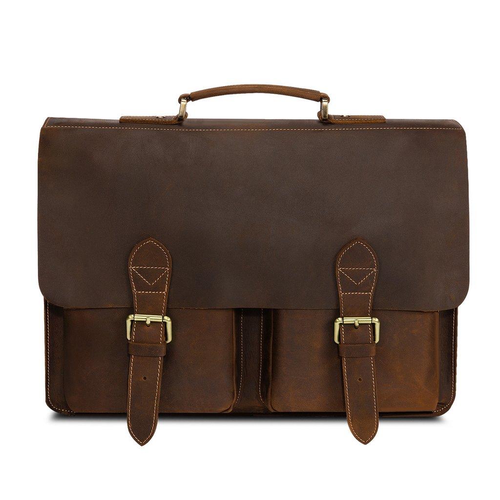 leather briefcase messenger bag photo - 1
