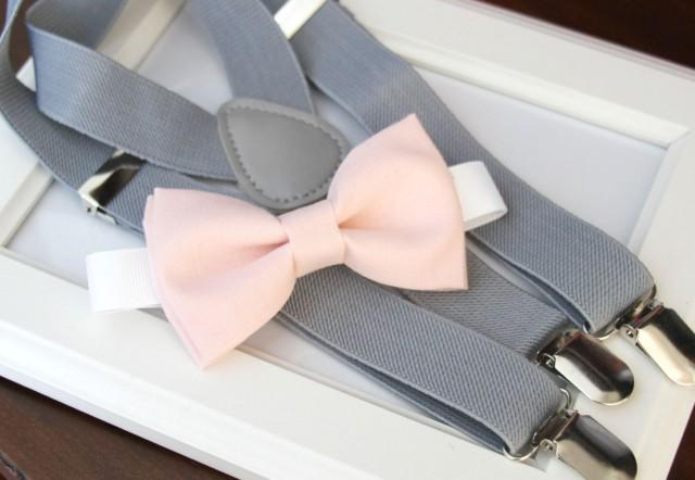 light pink bow tie and suspenders photo - 1