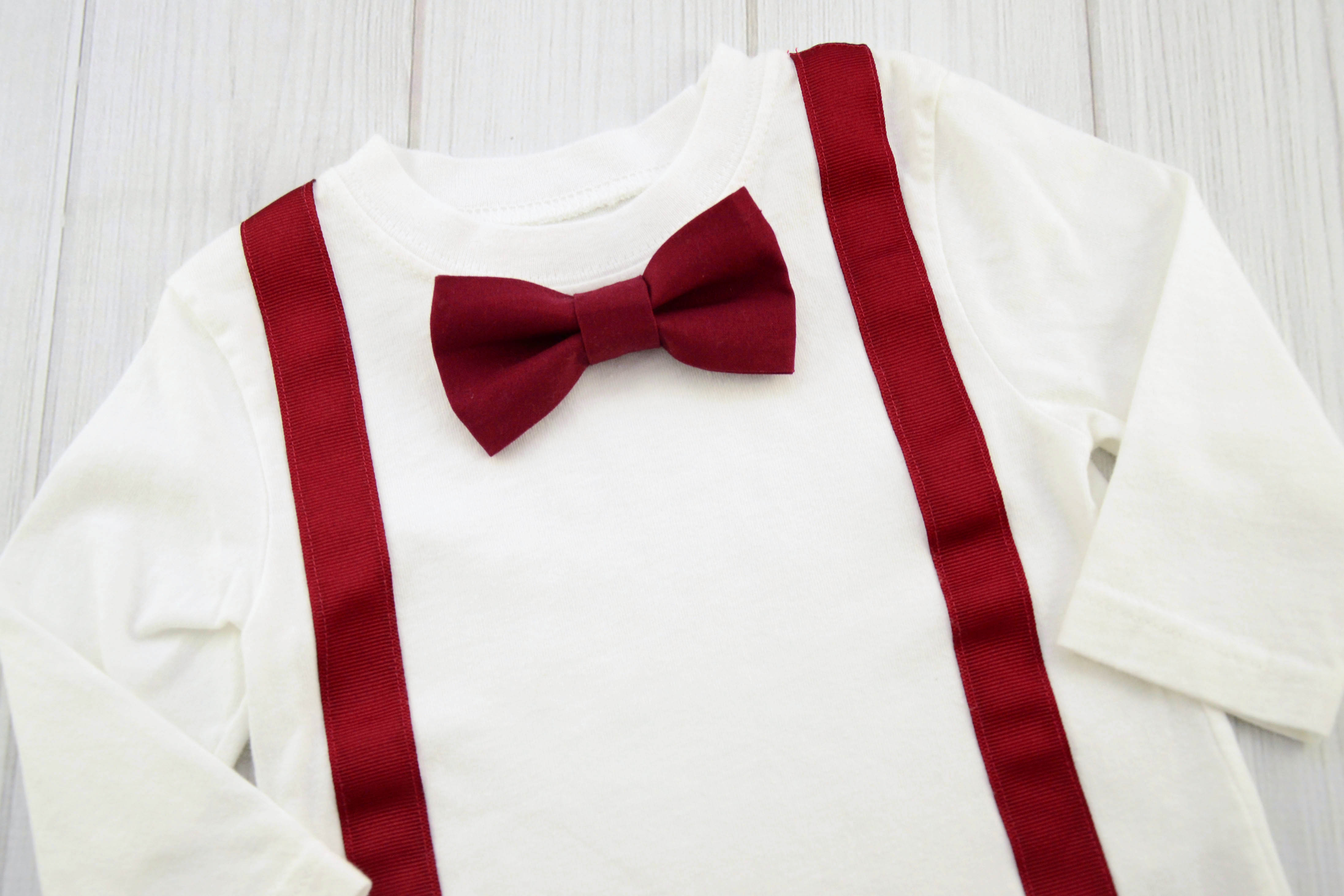 maroon bow tie and suspenders photo - 1