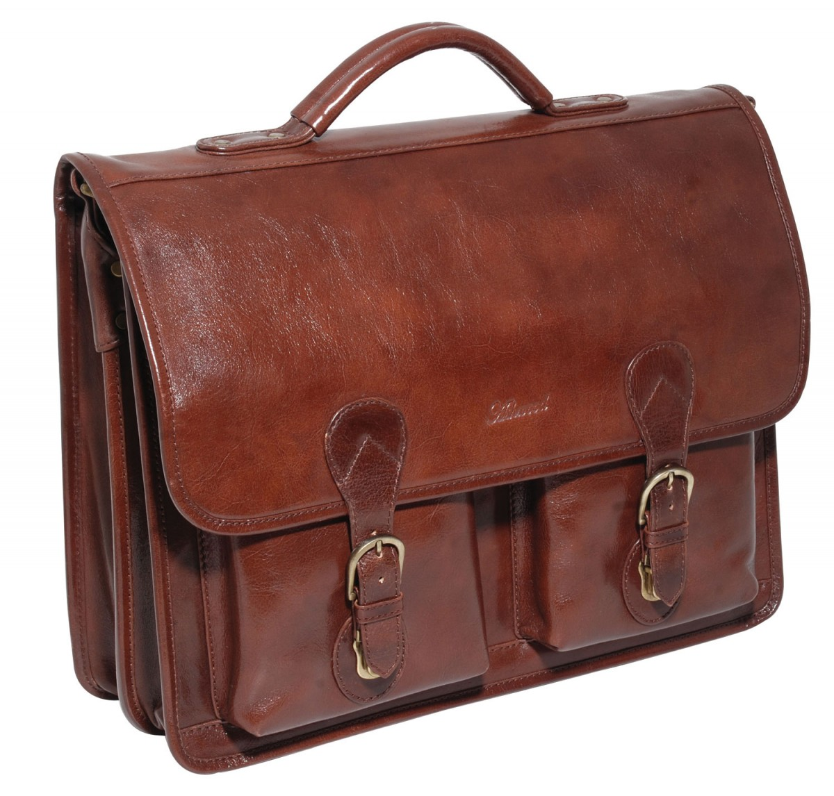 mens black leather briefcase photo - 1
