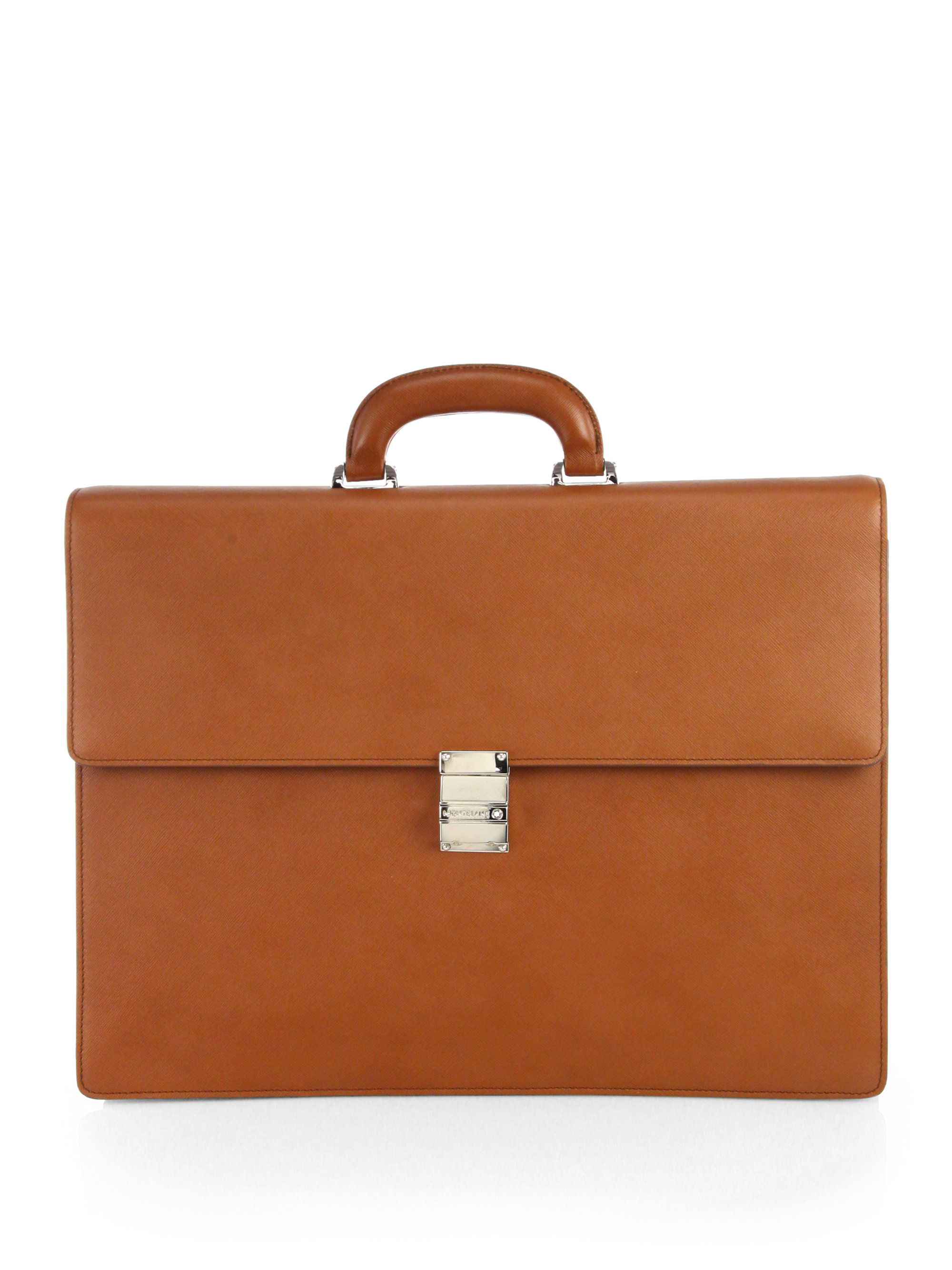 mens brown leather briefcase photo - 1