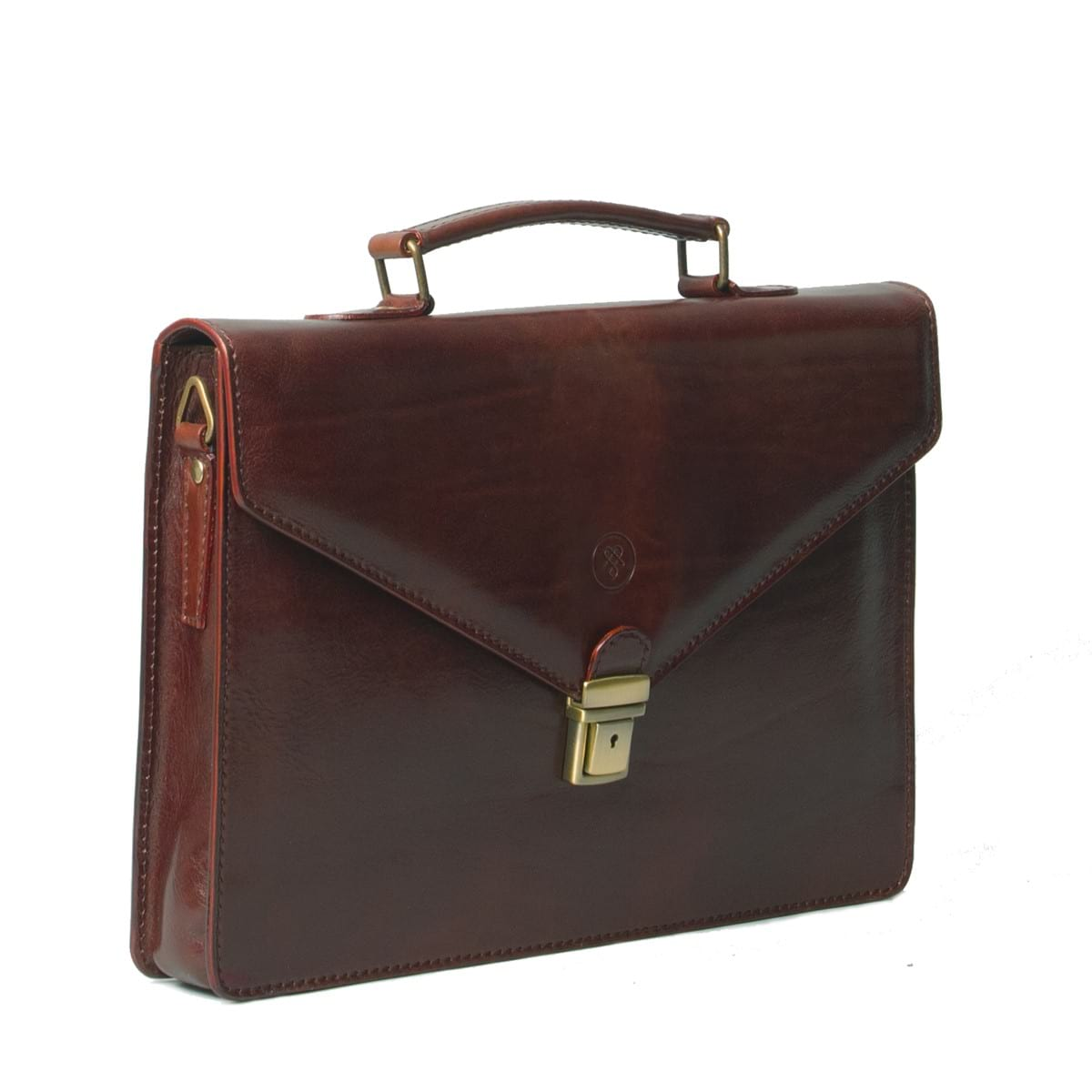 mens leather laptop briefcase photo - 1