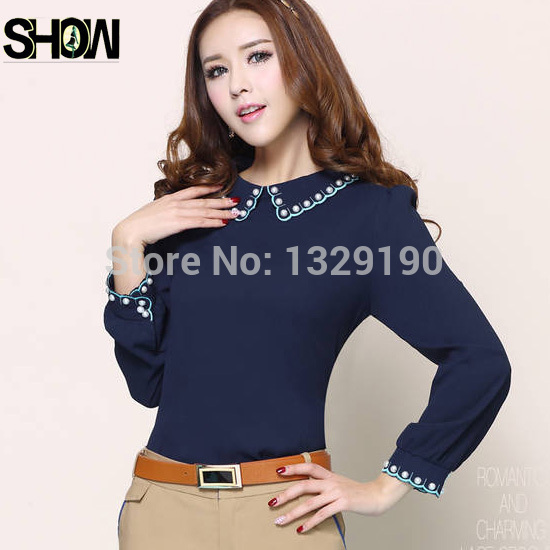 navy blue office formal shirt photo - 1