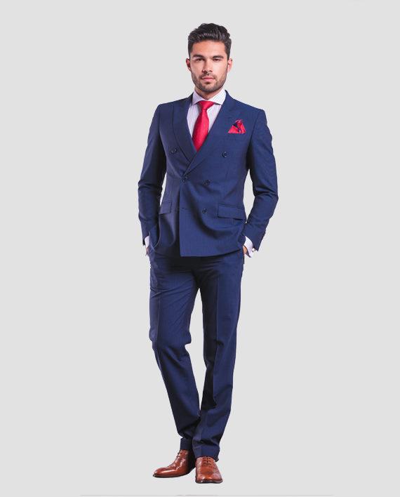 navy blue suit red tie photo - 1