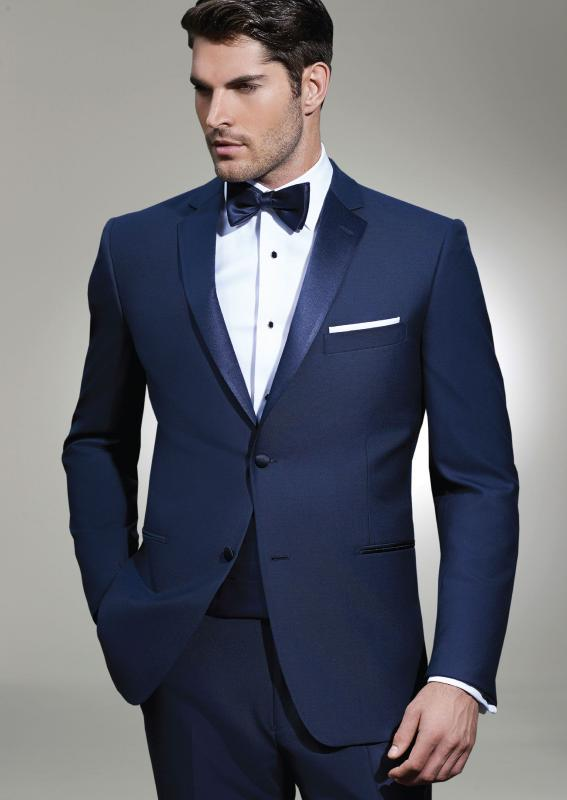 navy suit bow tie photo - 1
