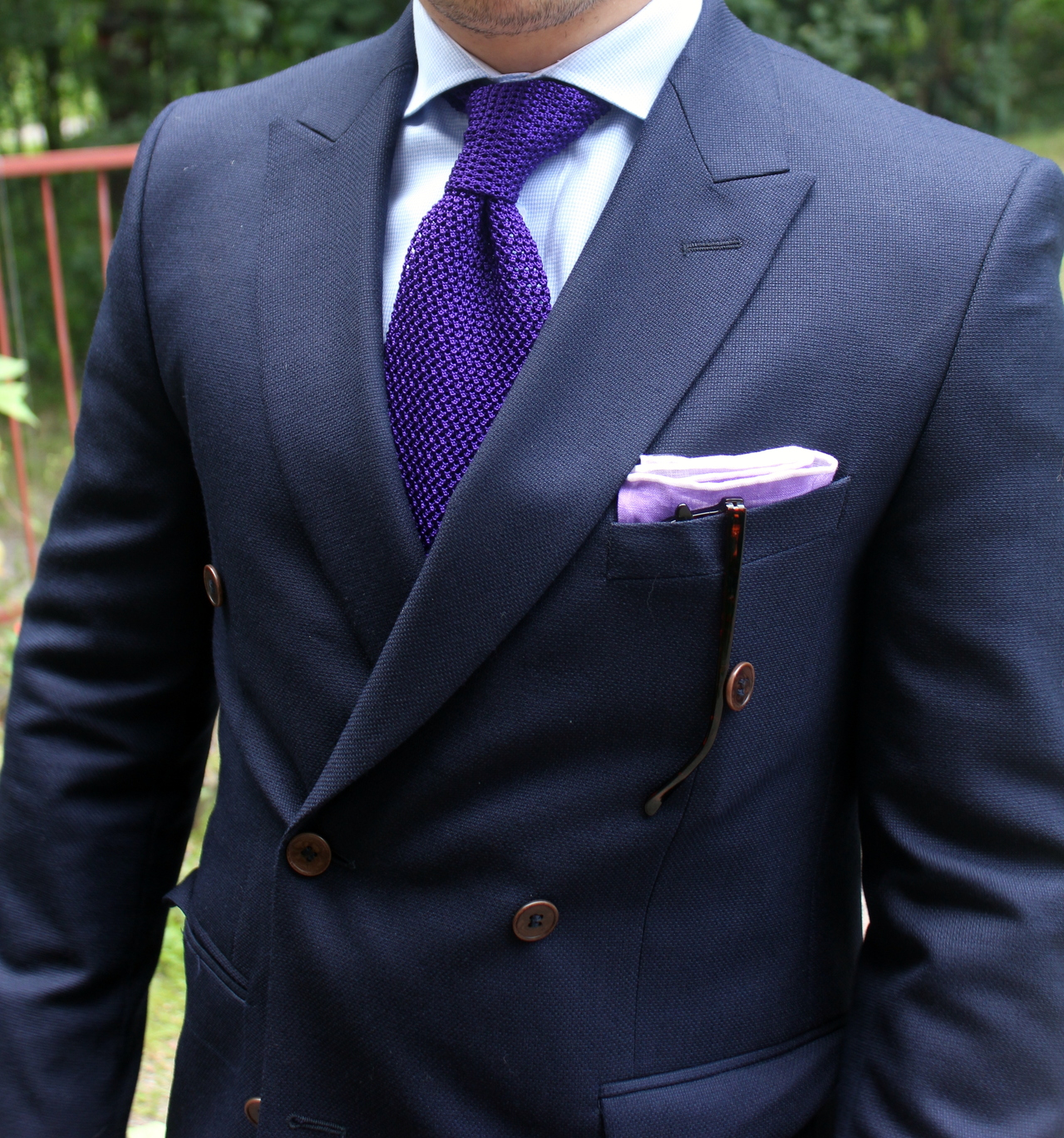 navy suit purple tie photo - 1