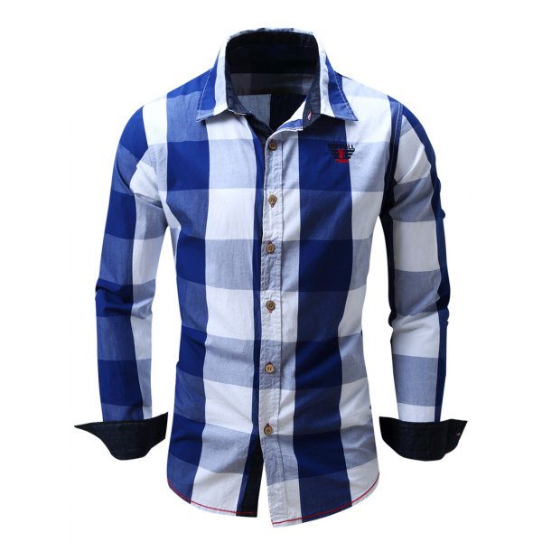 office solid color flannel shirt photo - 1