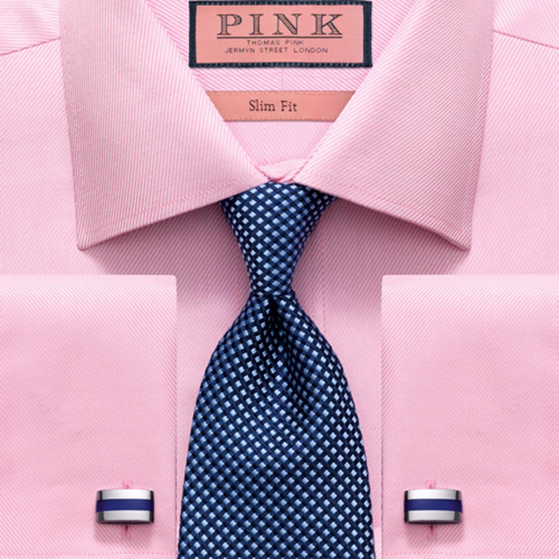 pink shirt blue tie photo - 1