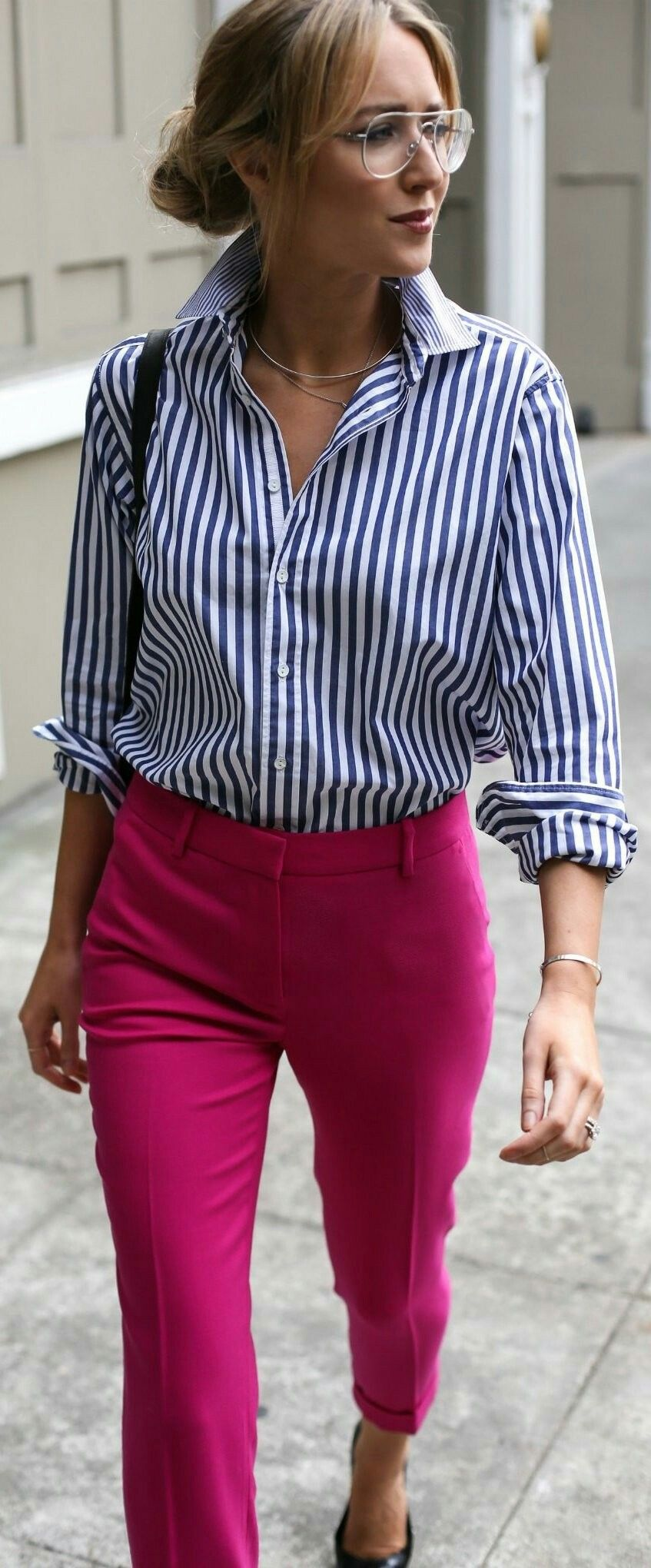 pink shirt outfit office photo - 1