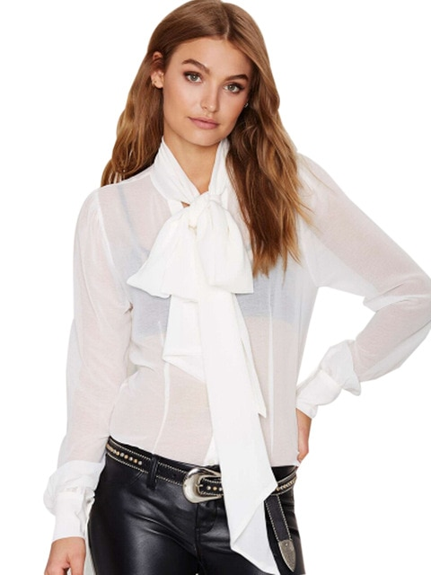 plus size tie neck blouse photo - 1