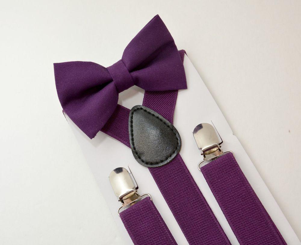 purple bow tie and suspenders photo - 1