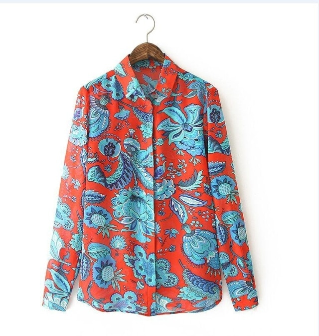 red floral print blouse vintage turn down collar long sleeve office work shirt casual loose top photo - 1