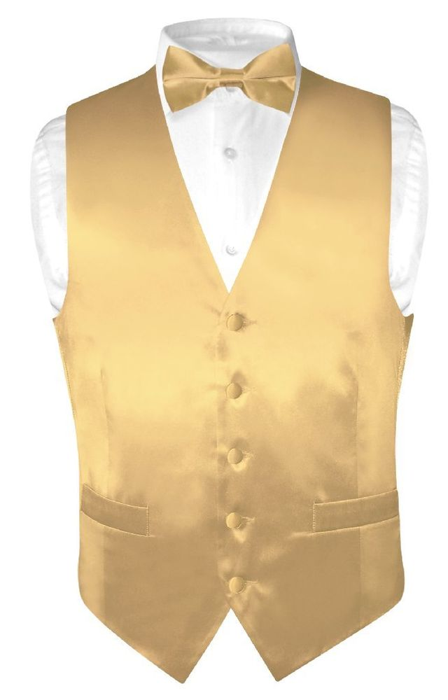 rose gold vest and bow tie photo - 1