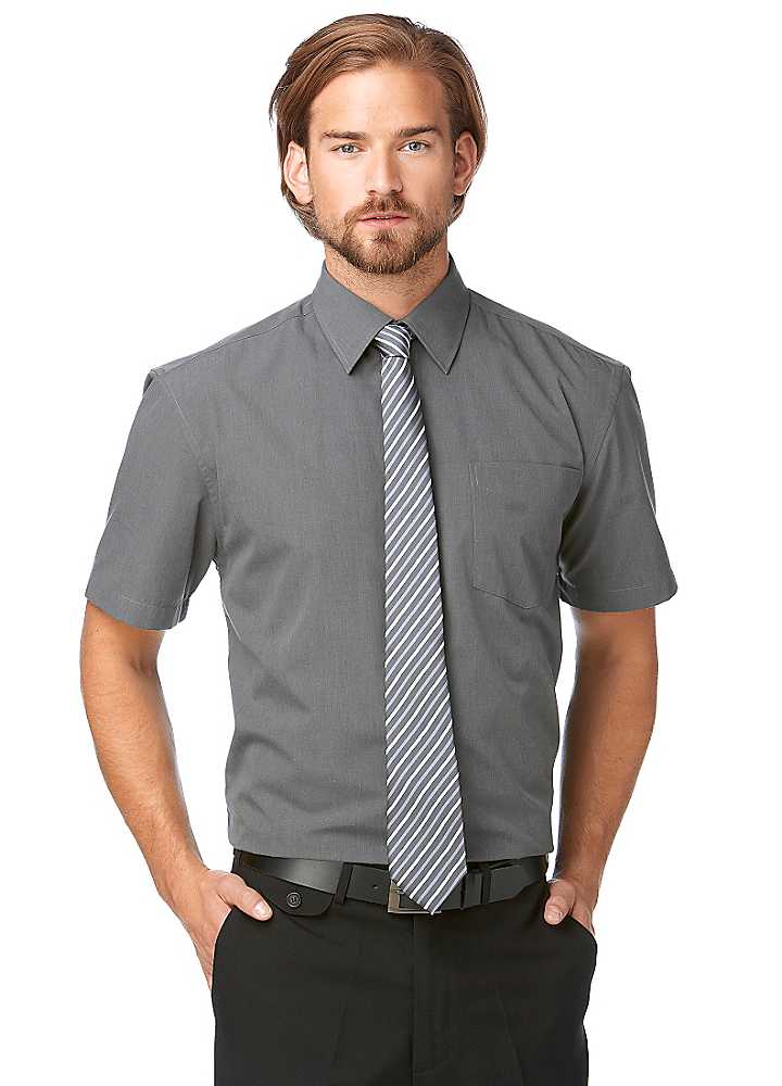 short sleeve dress shirt with tie photo - 1
