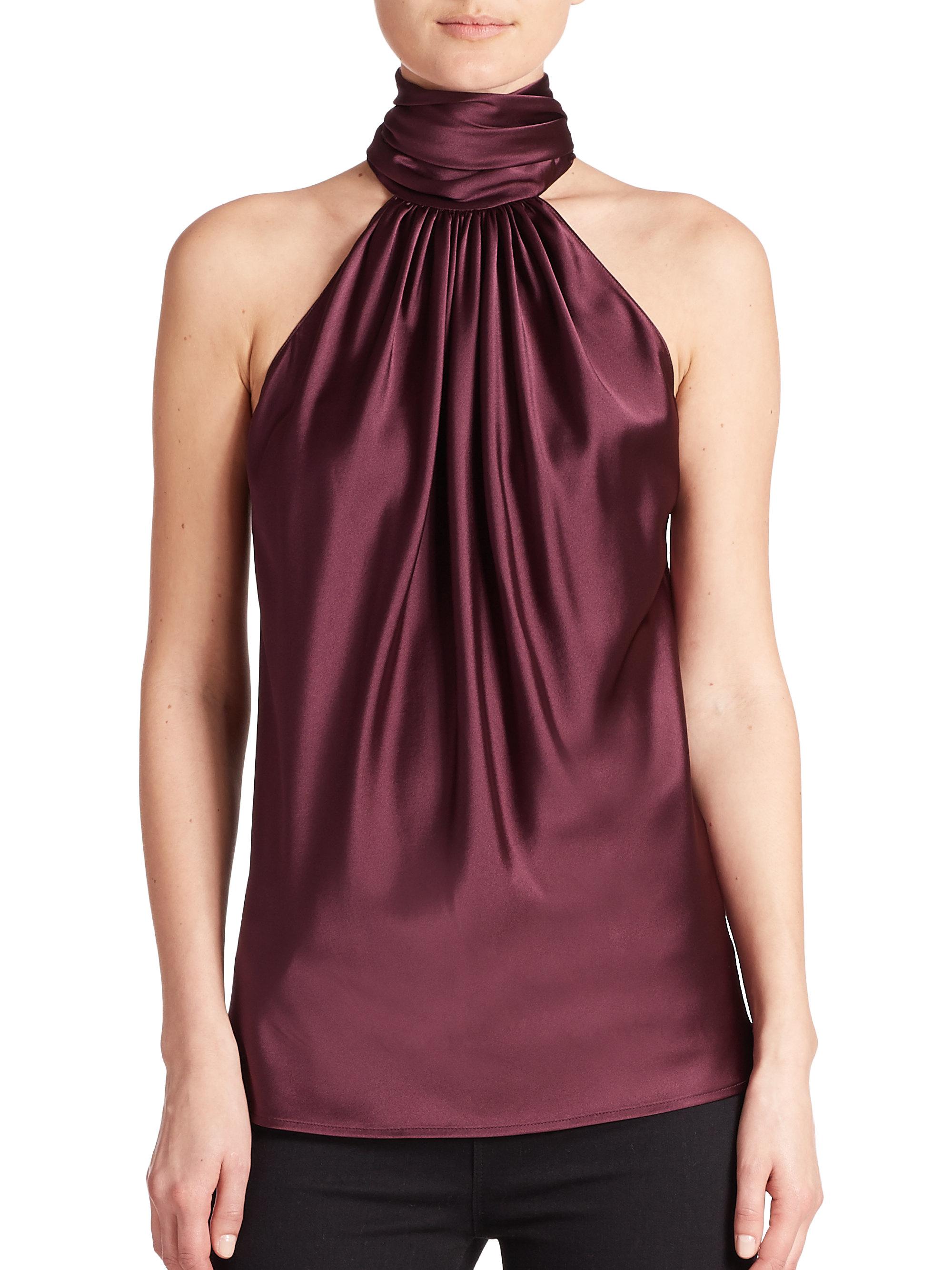 sleeveless tie neck blouse photo - 1
