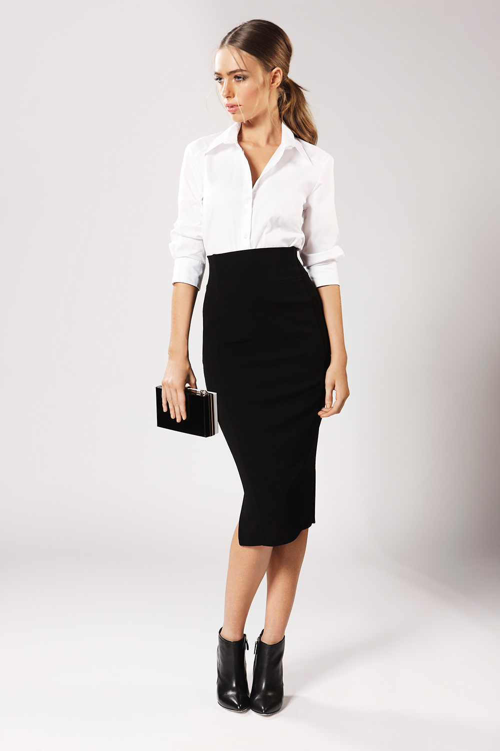 teens office shirt with pencil skirt photo - 1
