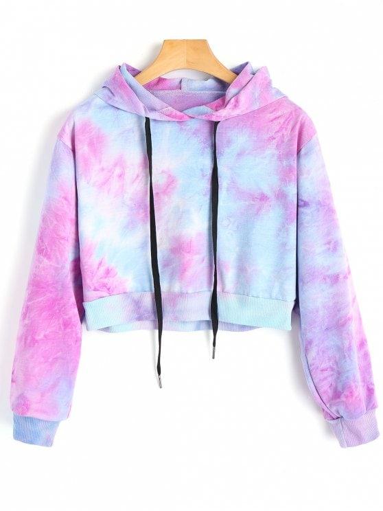 tie dye cropped hoodie photo - 1