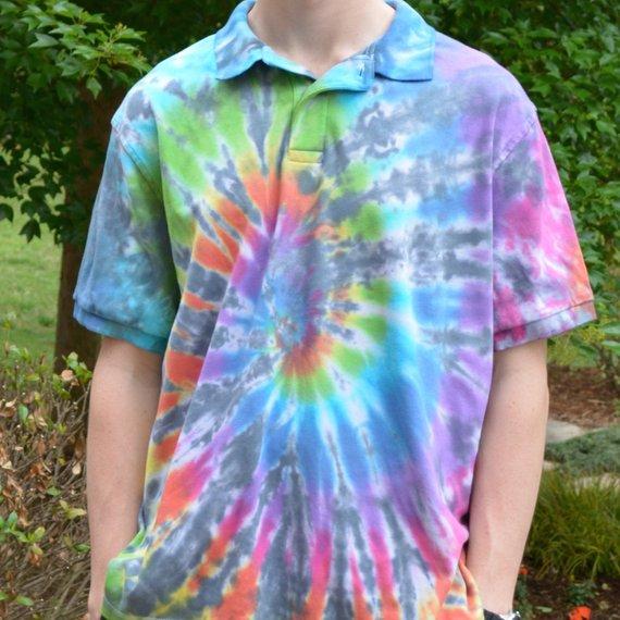 tie dye polo shirts photo - 1