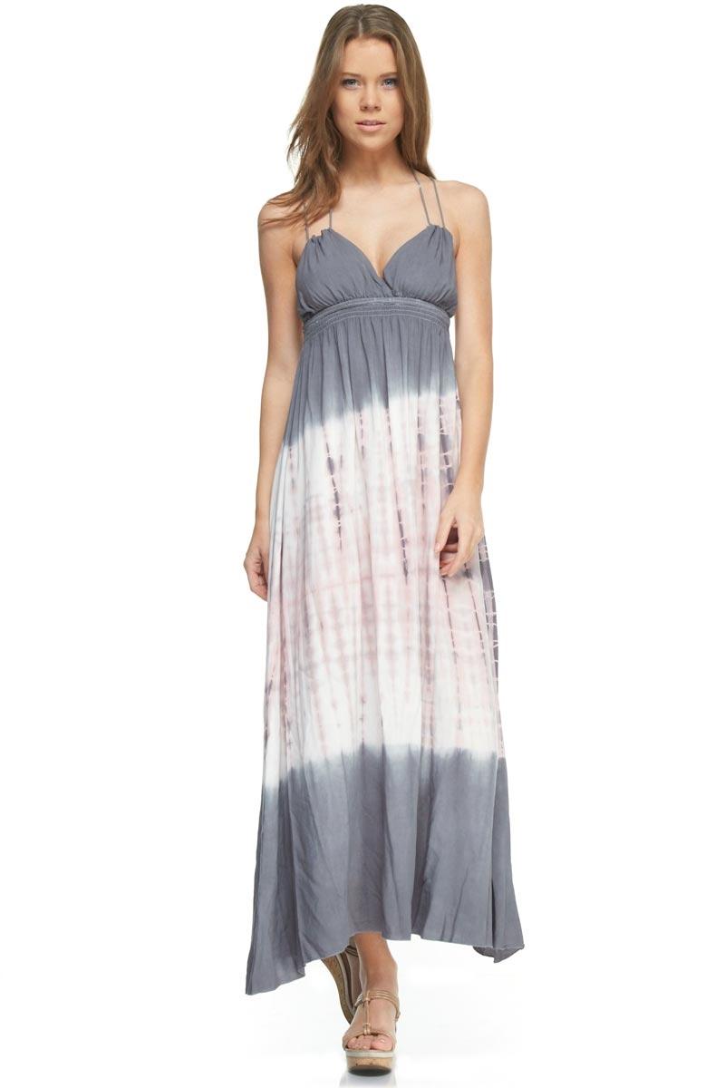 tie dye strapless dress photo - 1