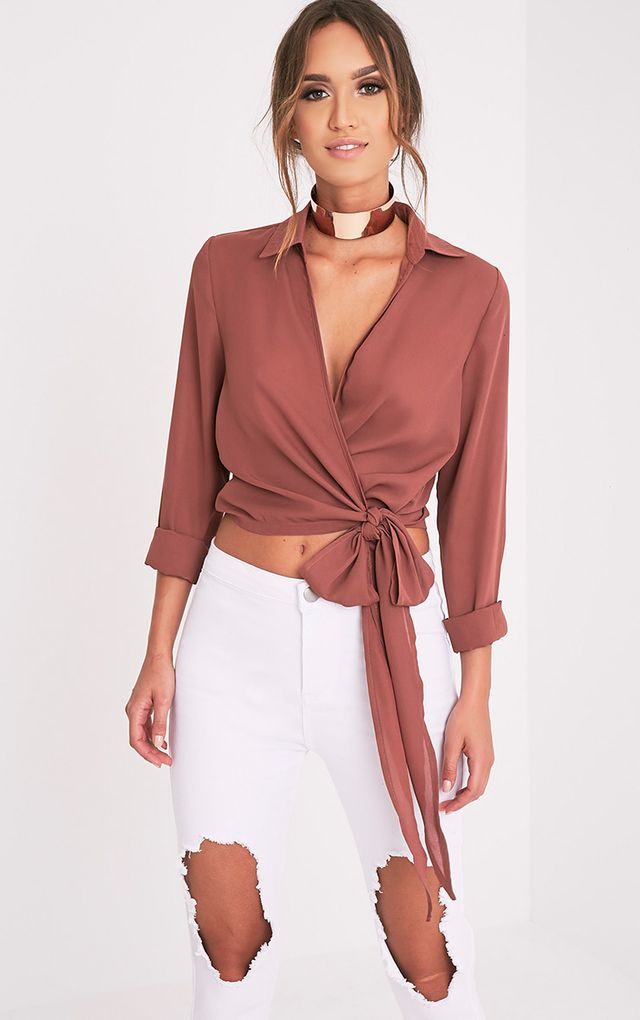 tie front blouse photo - 1