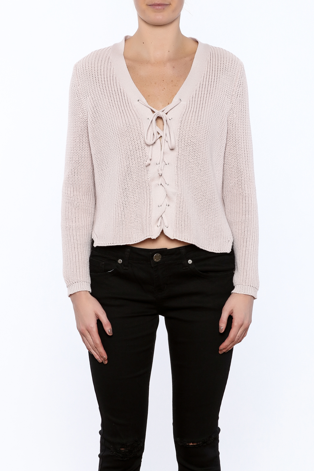 tie front sweater photo - 1