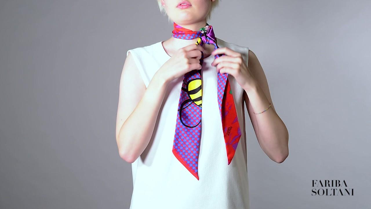 tie silk scarf photo - 1