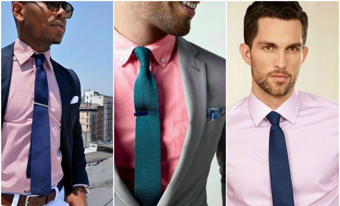what color tie with pink shirt photo - 1