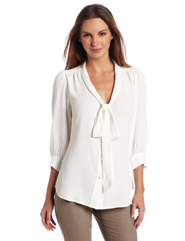white bow tie blouse photo - 1