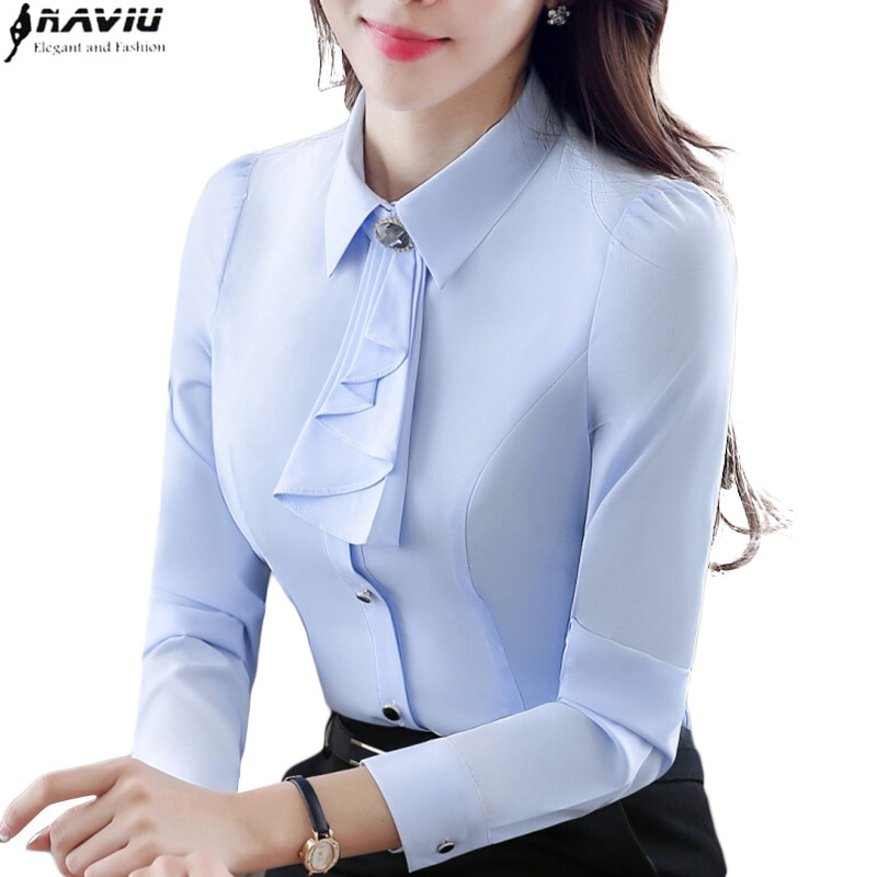 white shirt for women office with blue tie photo - 1